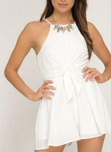 Off White Cami Romper With Front Tie Detail